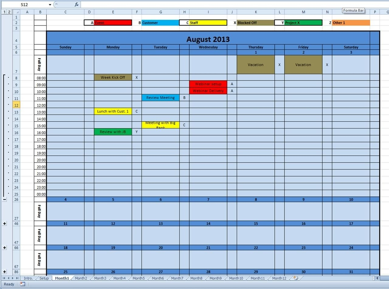 Calendar Monthly Printable 2020 (And Future Years) Excel Color Coded Schedule Template