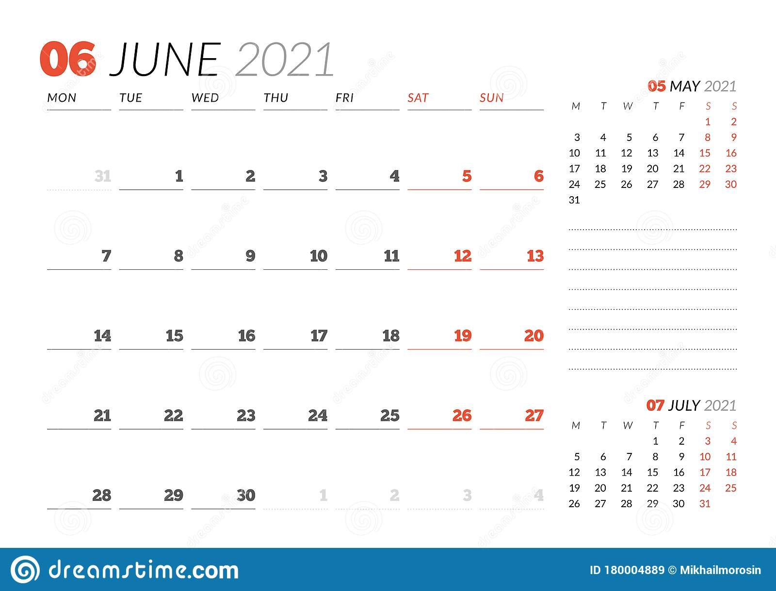 Calendar Page For June 2021. Monthly Planner. Stationery Calendar Week On On Page