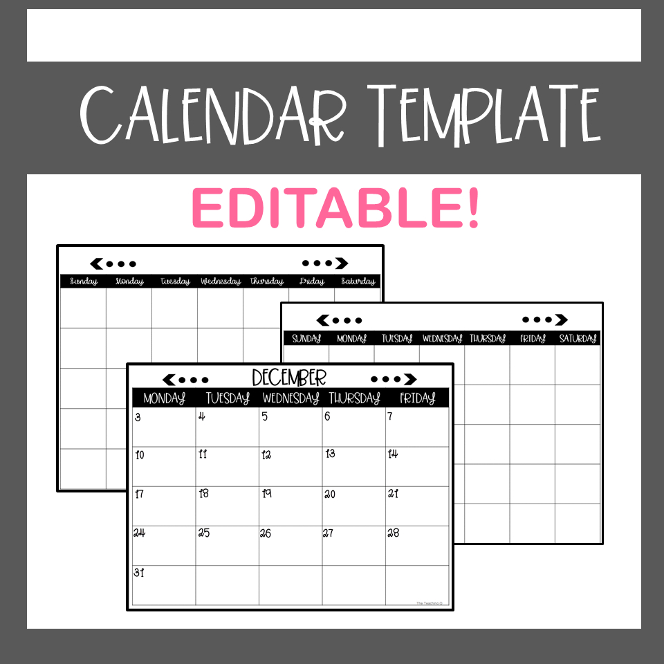 Calendar Template Editable (With Images) | Calendar Free Calendar Templates For Teachers