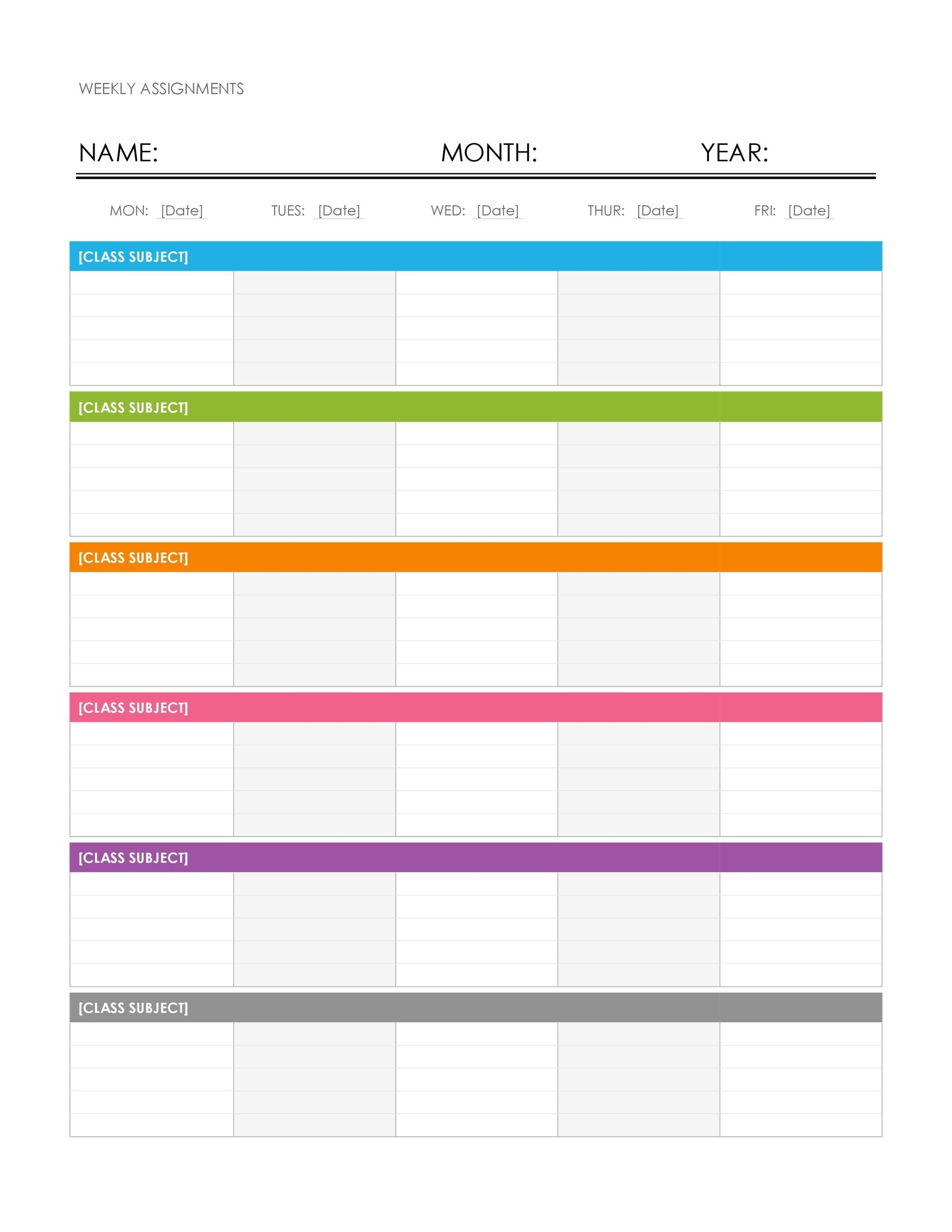 Calendar Week Format Excel | Ten Free Printable Calendar One Week Schedule Printable