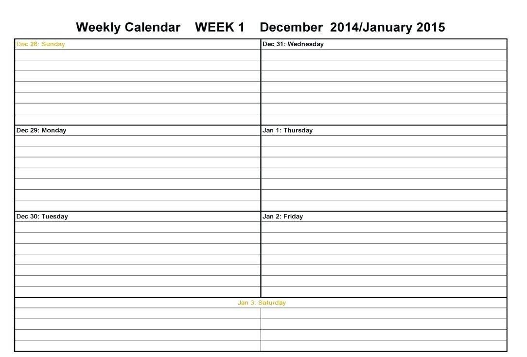 Calendar Week On A Page | Calendar Printables Free Templates Two Week Calendar Form