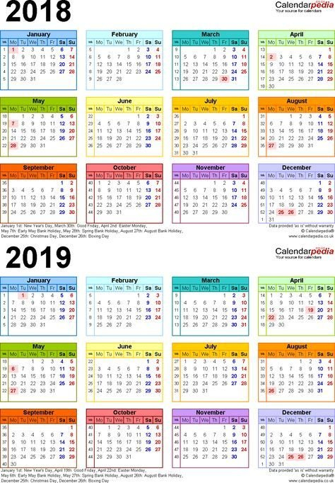 Calendars, 2018, 2019, Two Year, Free Download. Other Multiple Year Printable Calendar