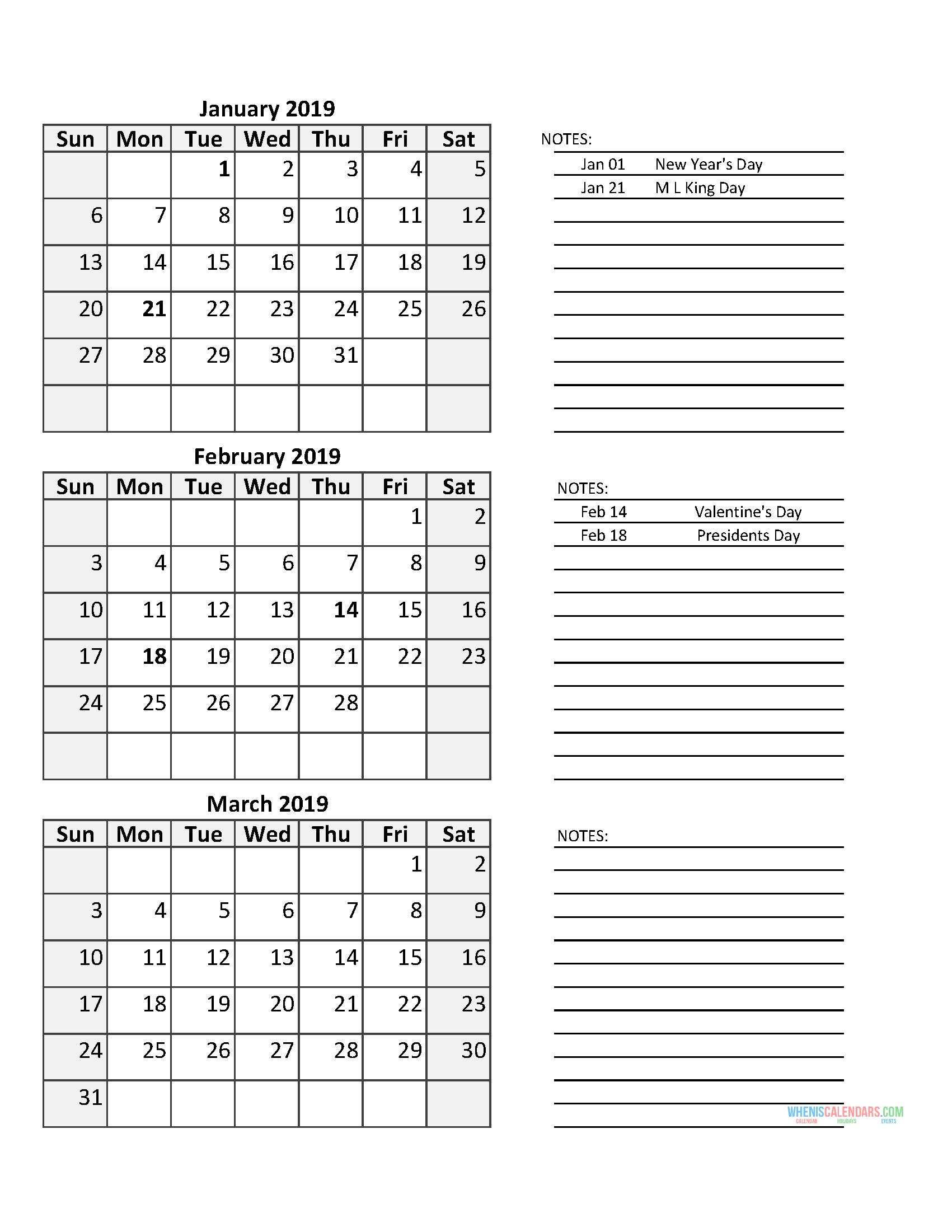 Catch 3 Month 2020 Quarterly Calendar With Holidays Print 3 Month Calendar