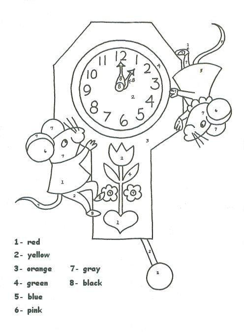Clock Color Number Worksheet   Homeschool   Pinterest 30 Day Retirement Countdown Coloring Calendar