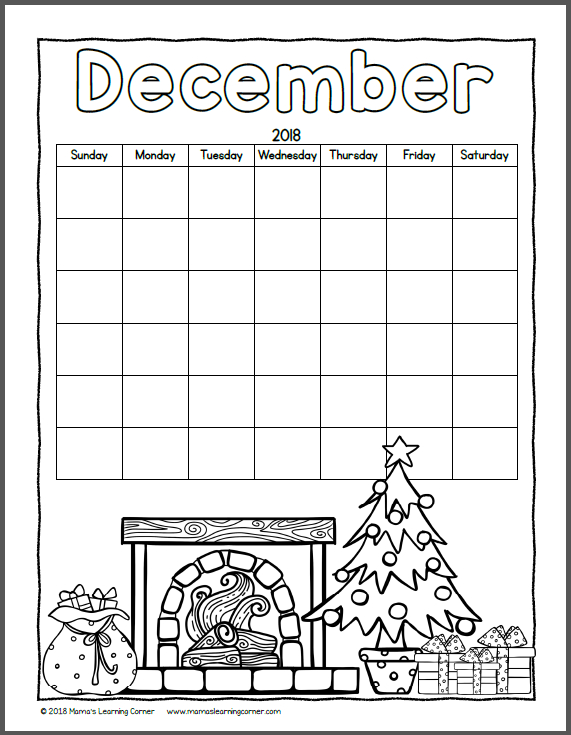 Color Your Own Calendar 2018 - Mamas Learning Corner Printable Calendar That You Can Fill In Color In The Blocks