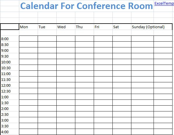Conference Room Scheduling Template Excel – Microsoft Reservation Calendar Template Excel