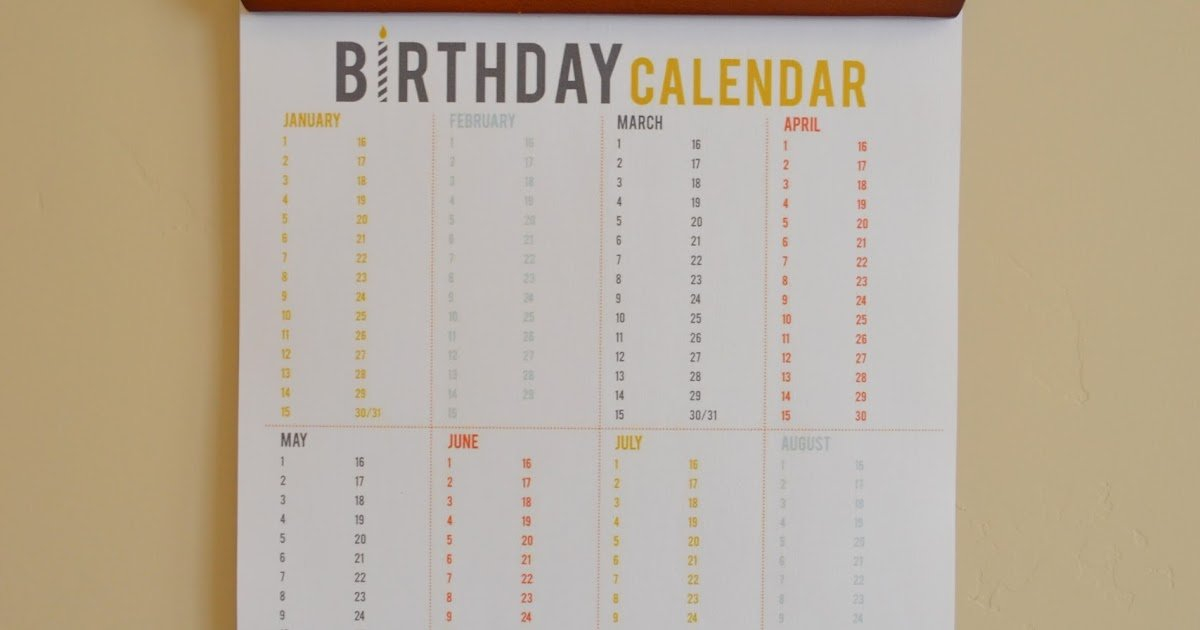 Craftaphile: Printable Birthday Calendar Large Fill In Calendar