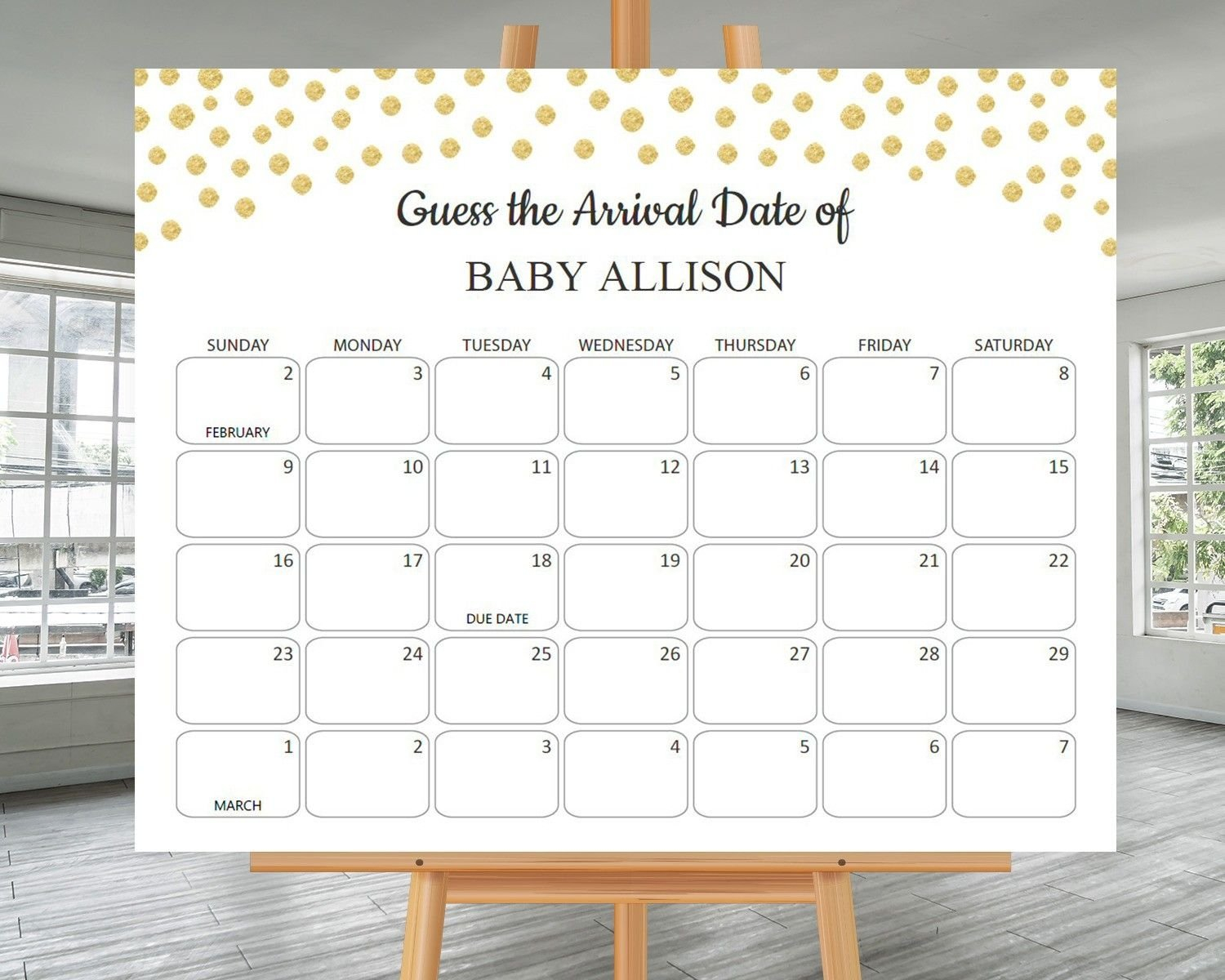 Create Your Guess The Due Date Printable Calendar   Get Calendar Templates For Baby Due Date