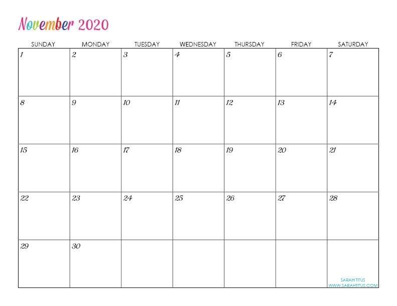 Custom Editable 2020 Free Printable Calendars – Sarah Titus Free Calendars To Download And Edit