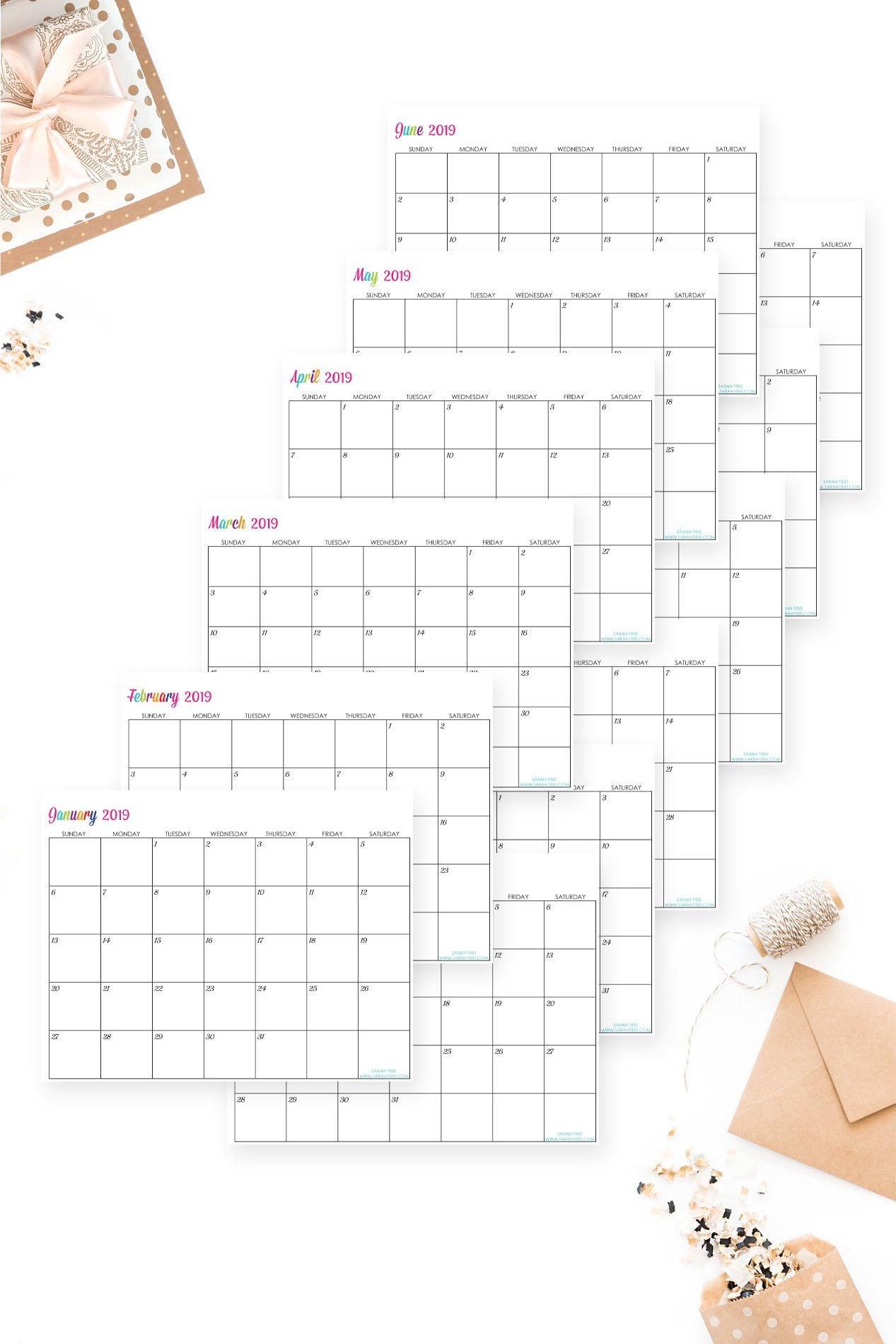 Custom Editable Free Printable 2019 Calendars – Sarah Titus Free Calendars That I Can Edit And Print