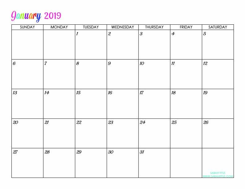 Custom Editable Free Printable 2019 Calendars – Sarah Titus Online Calander I Can Edit