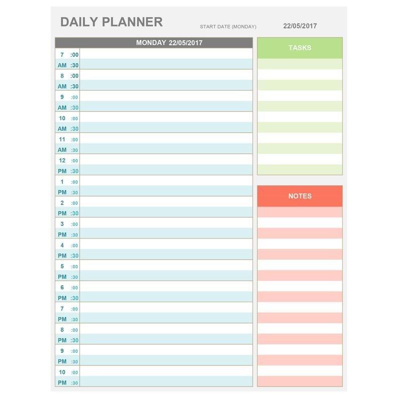 Daily Calendarhour : Free Calendar Template Daily Hourly Calendars To Print