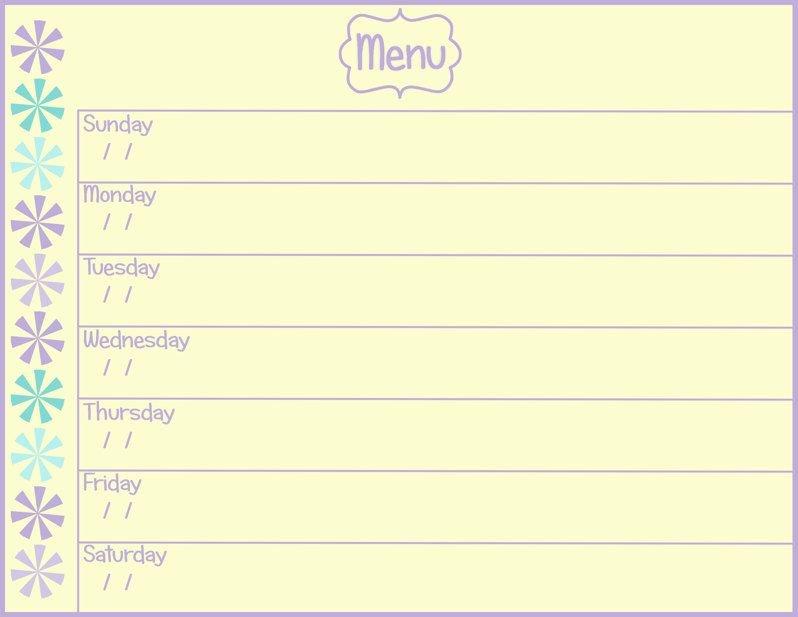 Daily Menu Planner Printable | Can Plan Onprefer To Menu Monday Thru Sunday Menu Template