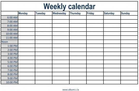 Daily Schedule With Time Slots   Printable Calendar Weekly Planner With Time Slots Pdf