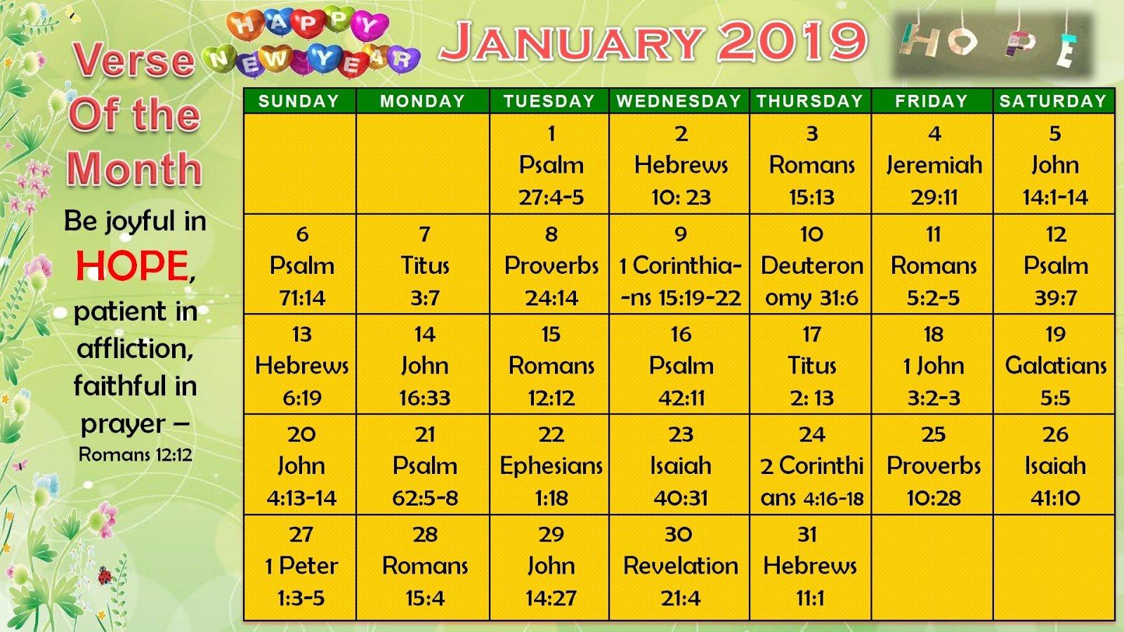 Daily Verses Calendar – January 2019 – Printable Version Daily Scripure Prayer Calendar