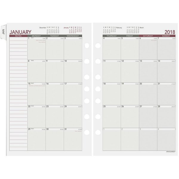 """Day Runner 061685Y 5 1/2"""" X 8 1/2"""" Monthly Planning Pages 5 1/2 By 8 1/2 Weekly Calendar Printable"""
