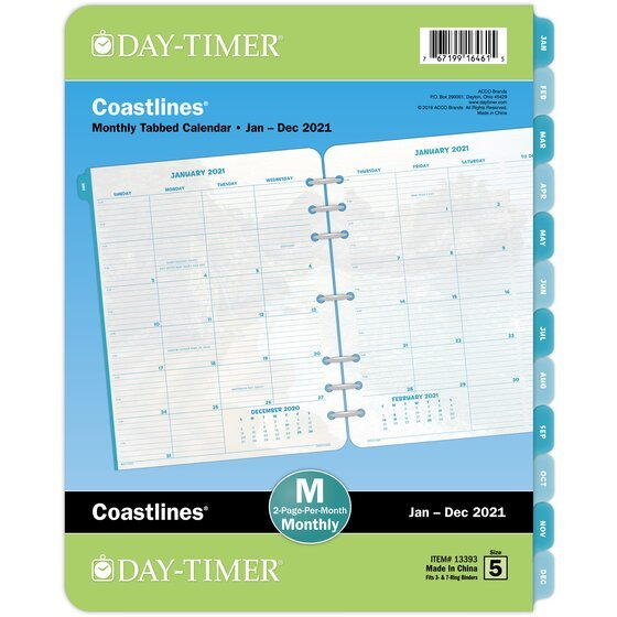 Day-Timer Coastlines 2021 Two Page Per Month Tabbed 8 X 11 Calendar Pages