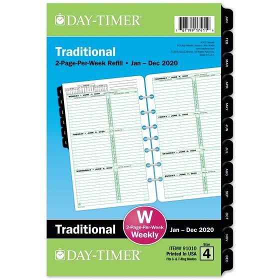 Day Timer Two Page Per Week Original Planner Refills, 5 1 5 1/2 By 8 1/2 Weekly Calendar Printable