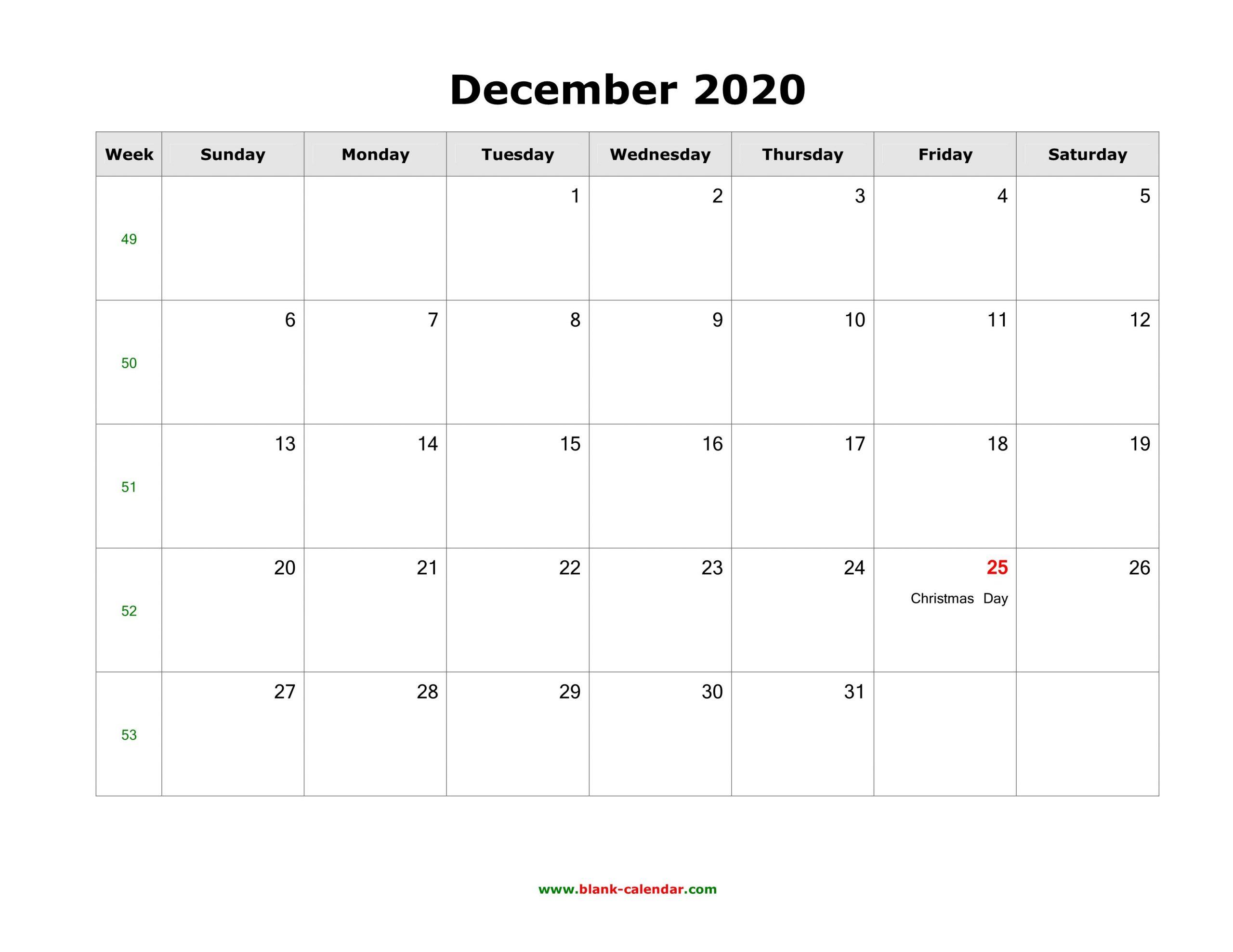 December 2020 Printable Calendar – Free Templates (Pdf, Word) Printable 2020 Calendar Free Saturday To Friday