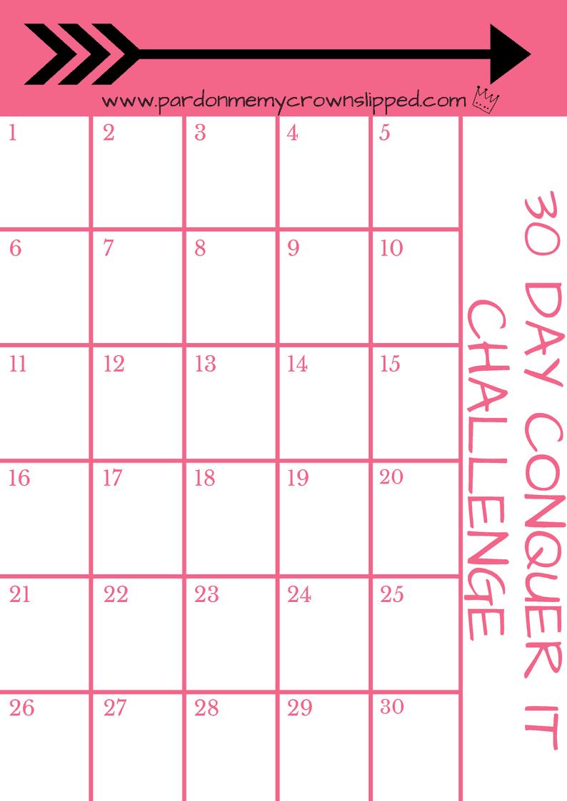 Diy 30 Day Challenge Printable • Pardon Me, My Crown Slipped Printable 30 Day Plank Challenge