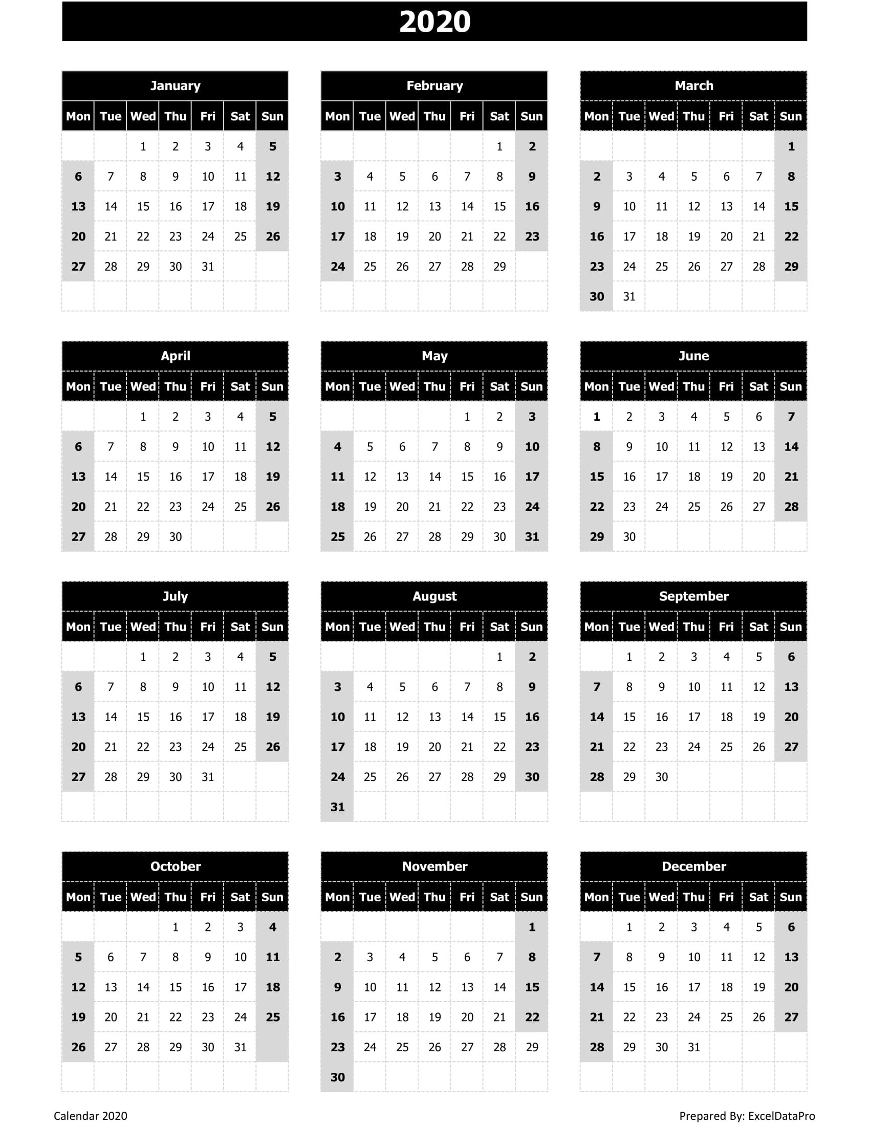 Download 2020 Yearly Calendar (Mon Start) Excel Template Printable Calendar That You Can Fill In Color In The Blocks