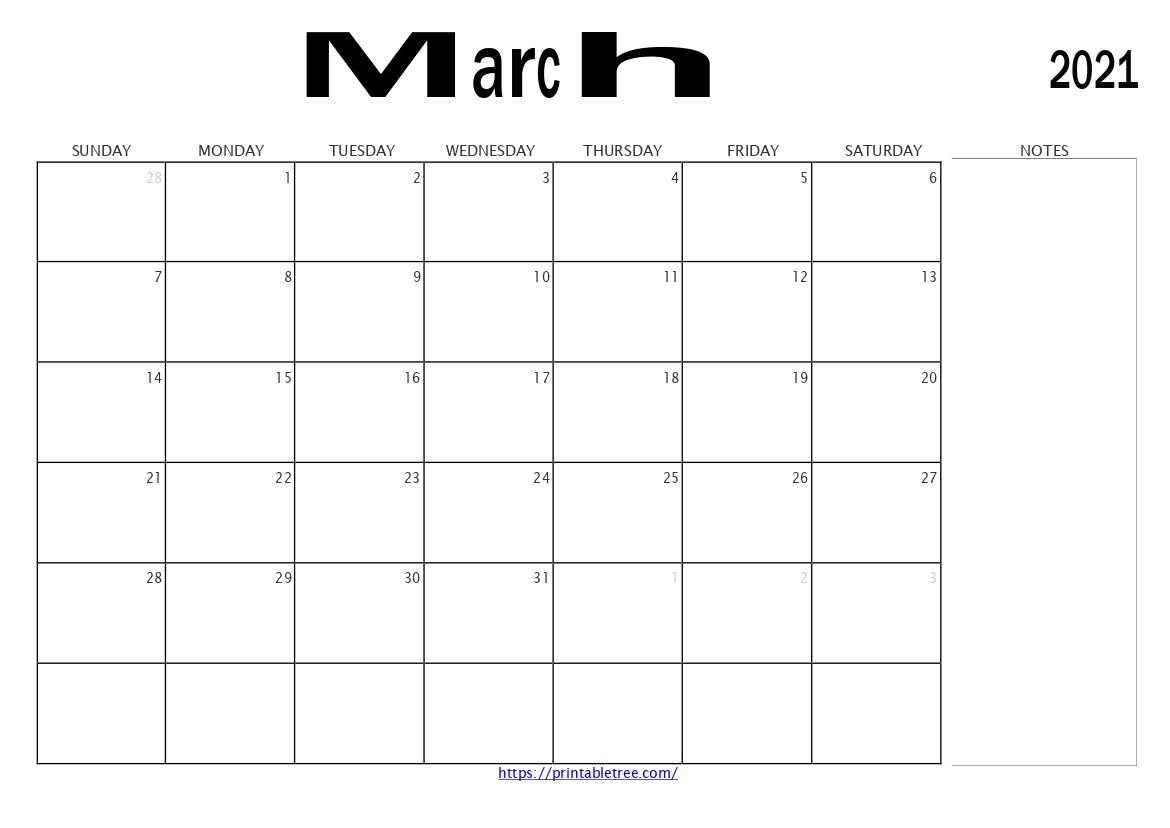 Download March 2021 Printable Calendar Blank Templates Pdf Free Printable Calendar With Notes