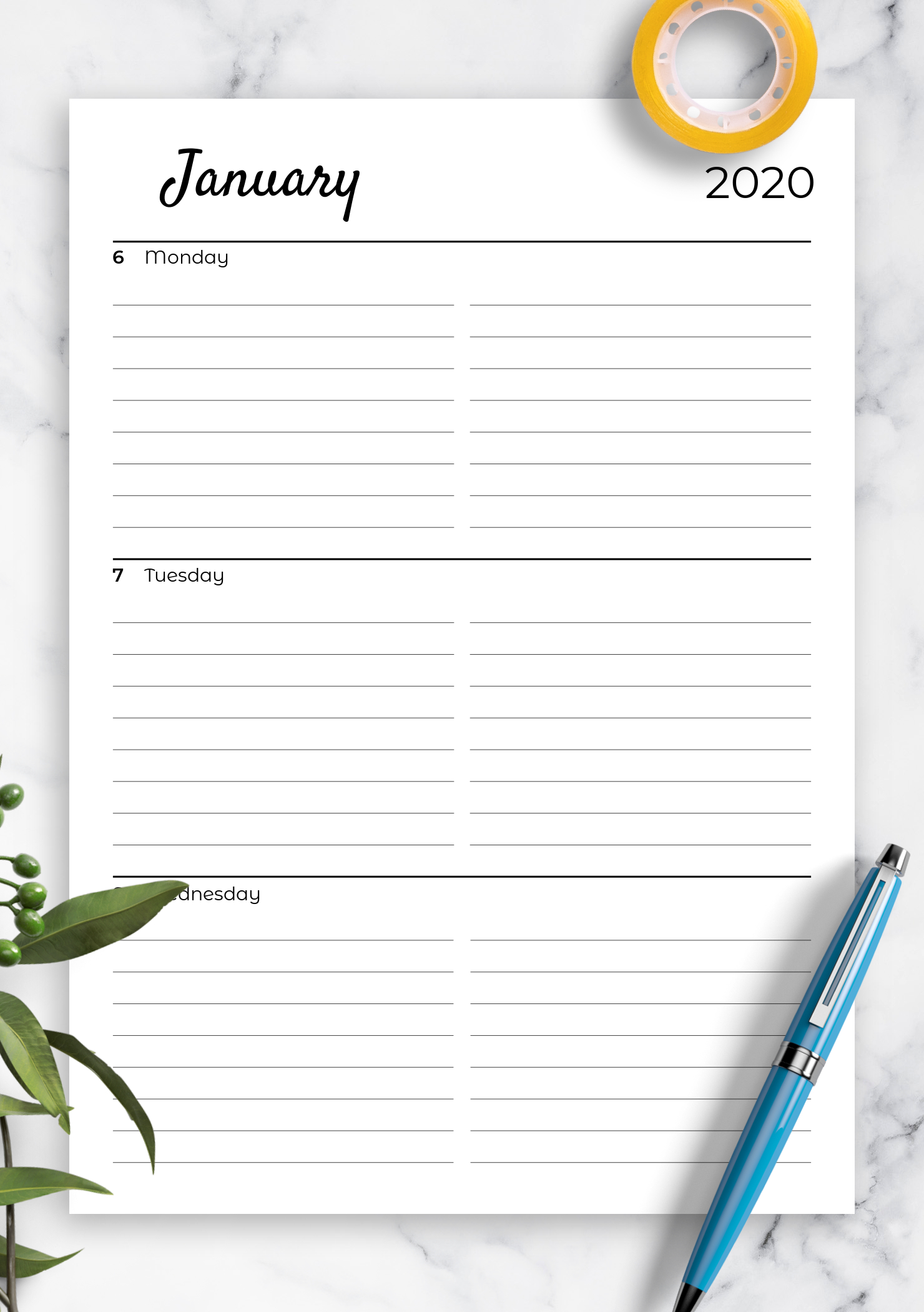 Download Printable Lined Weekly Planner With Calendar Pdf Blank Lined Calendar To Print