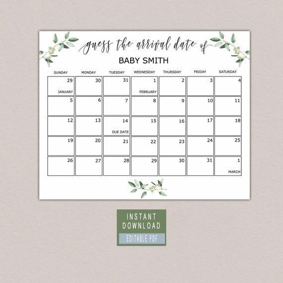 Due Date Calendar Template Baby Birthday Calendar Greenery Calendar Templates For Baby Due Date