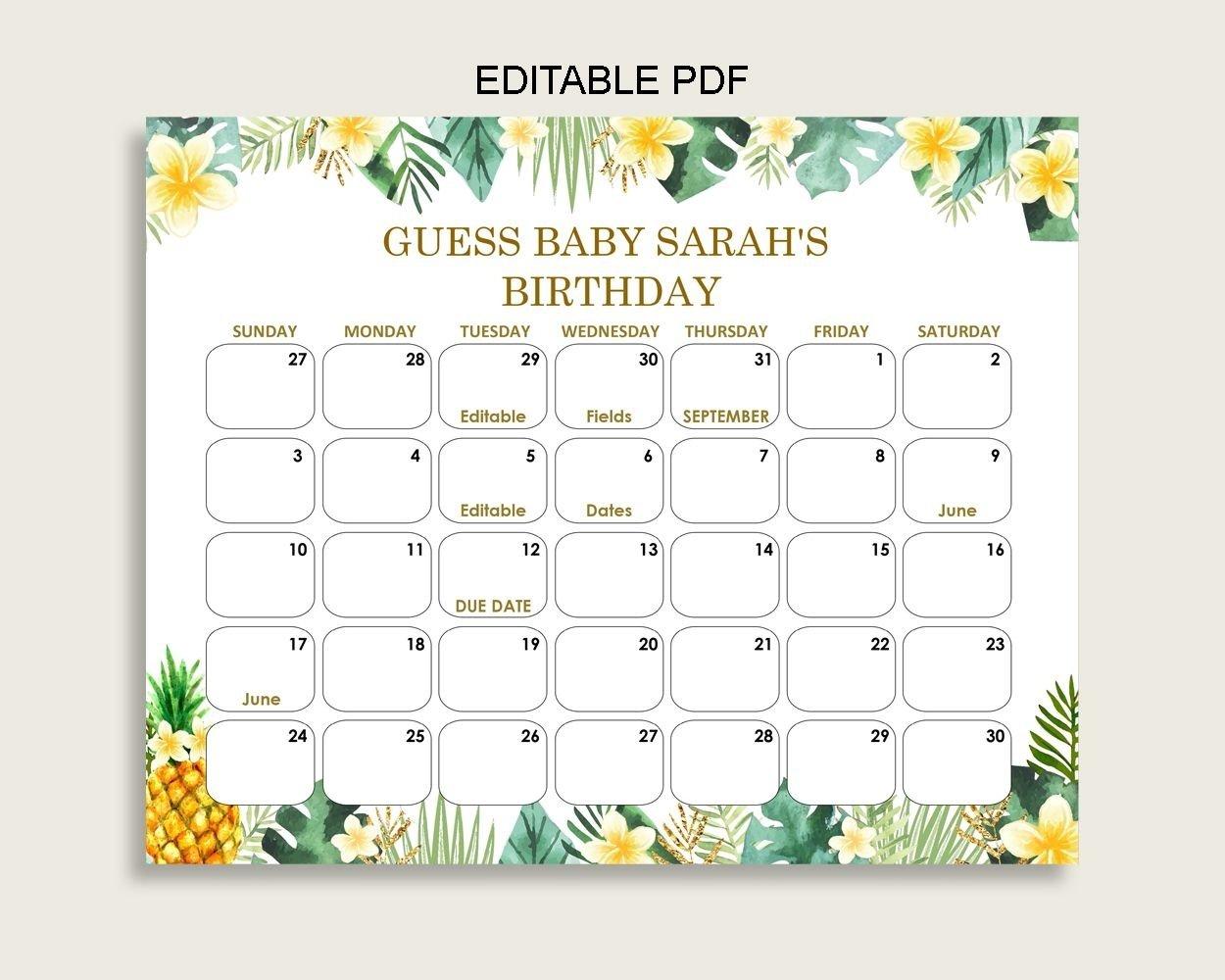 Due Date Prediction Calendar Printable | Calendar Template Baby Calendar Free Guess