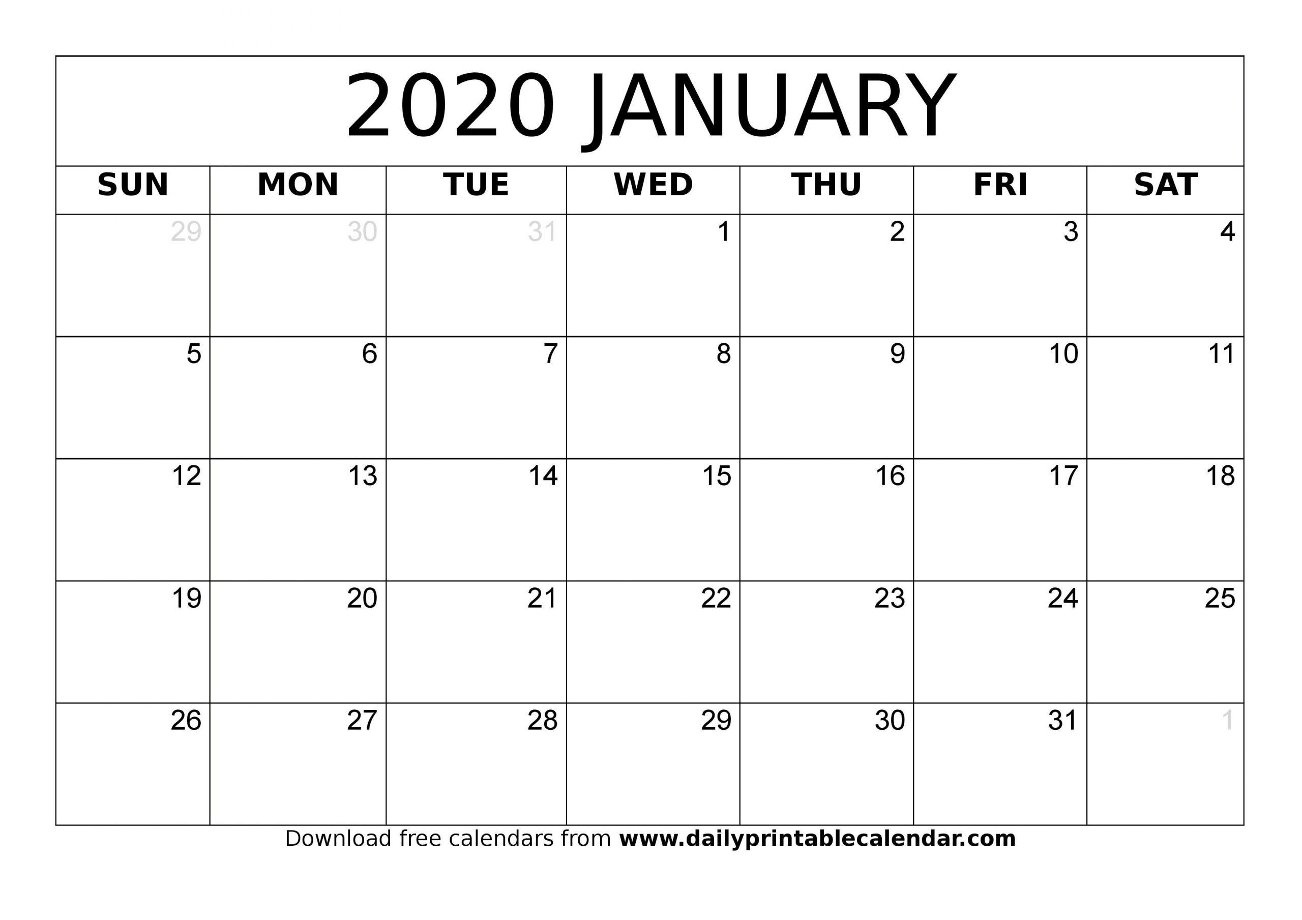 Editable January 2020 Calendar Pdf, Word, Excel {Free Printable 2020 Calendar Free Saturday To Friday