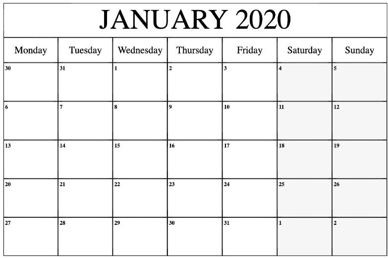 Editable January 2020 Calendar Template | Printable Free Calendars To Download And Edit