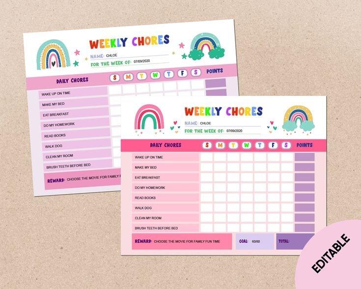 Editable Rainbow Weekly Chore Chart Printable Reward Chart Printable Two Week Chart
