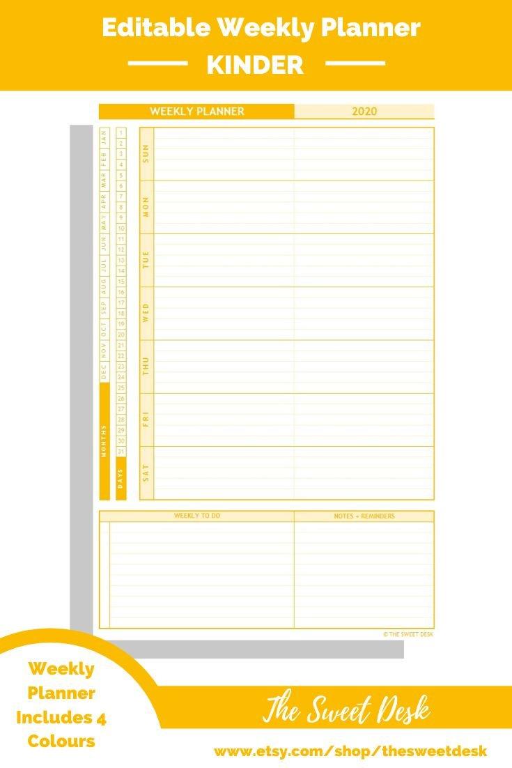 Editable Weekly Planner   Excel Template   Printable Calendar Week On On Page