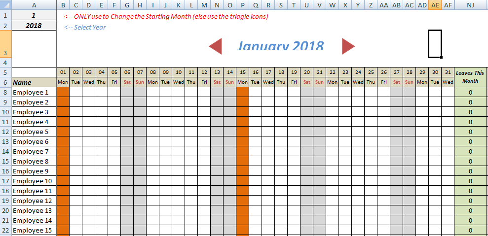 Employee Annual Leave Record Sheet Templates   7+ Free Annual Hr Calendar Template