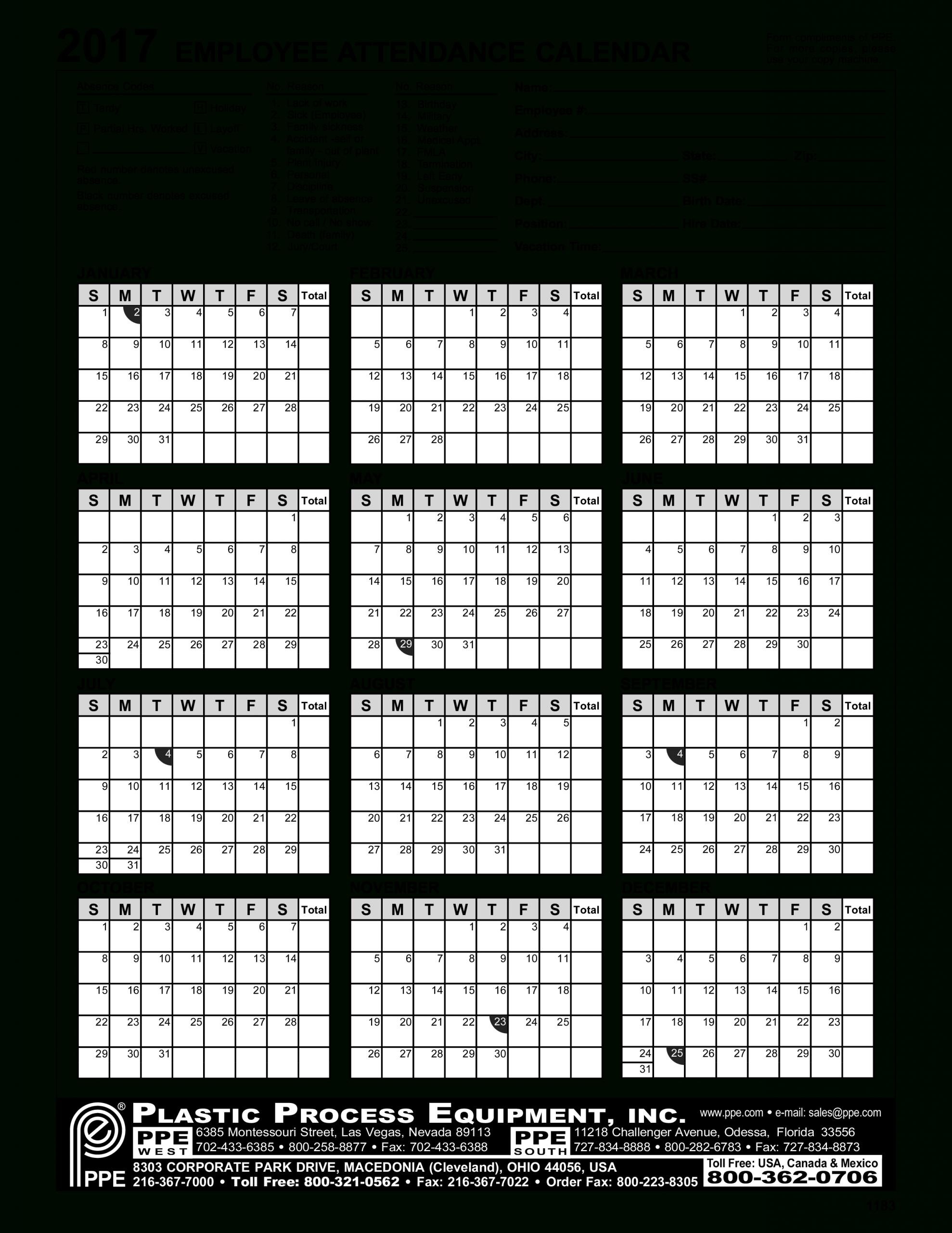 Employee Attendance Calendar | Templates At Hr Company Annual Calendar Template