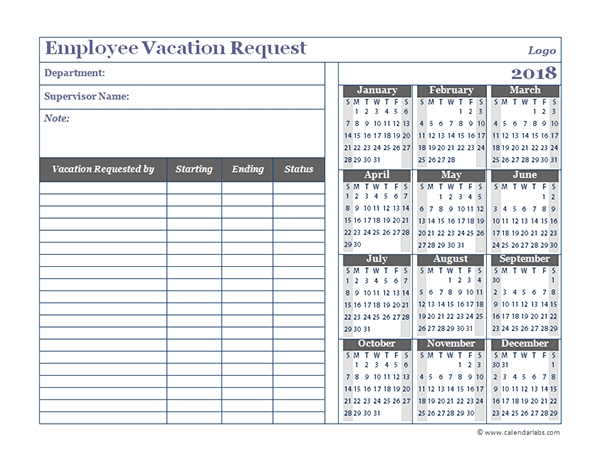 Employee Time Off Calendar Template Excel : Free Calendar Time Off Calender Template