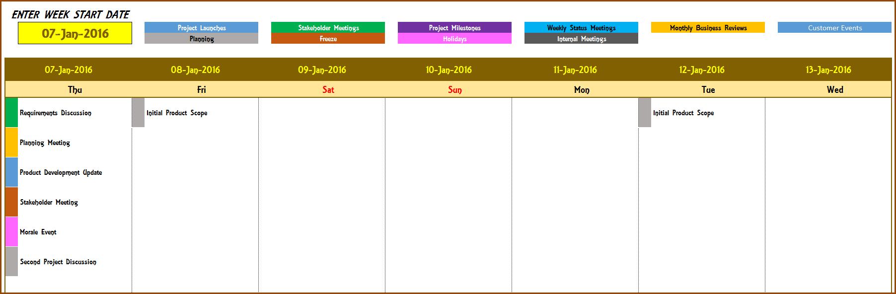 Event Calendar Maker Excel Template V3 – Support 5 Day Calendar Excel