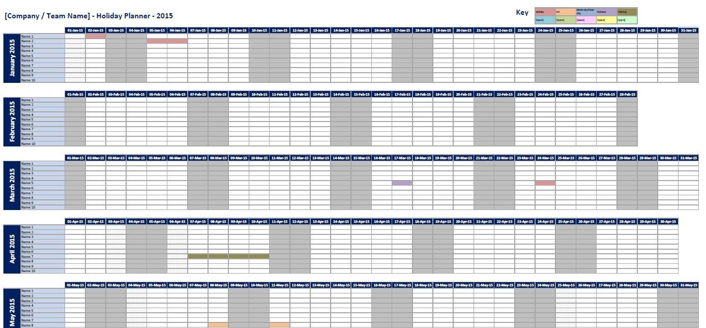 Excel Spreadsheet Employee, Staff Holiday & Sickness Annual Hr Planning Calendar Excel