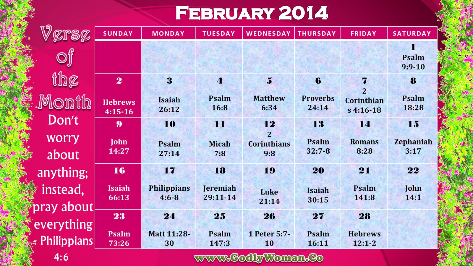 February 2014 Verse Of The Day Calender – Verseverse Daily Scripure Prayer Calendar