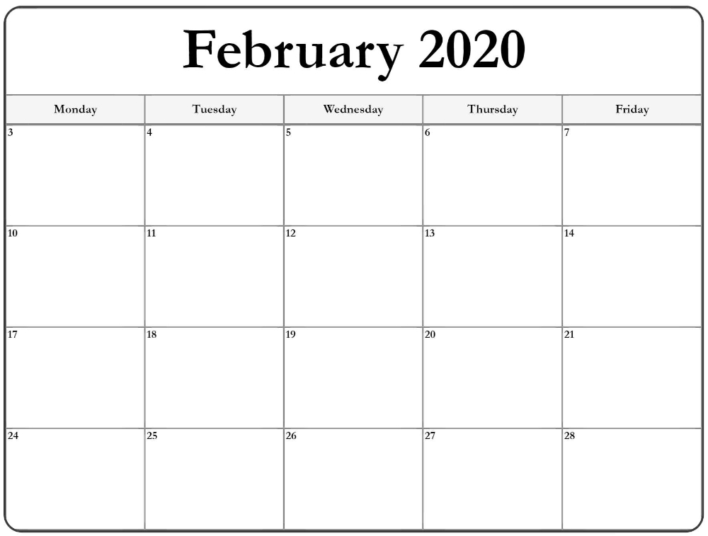 February 2020 Monday Calendar | Monday To Friday Free Printable Calendars By Month Monday Through Sunday