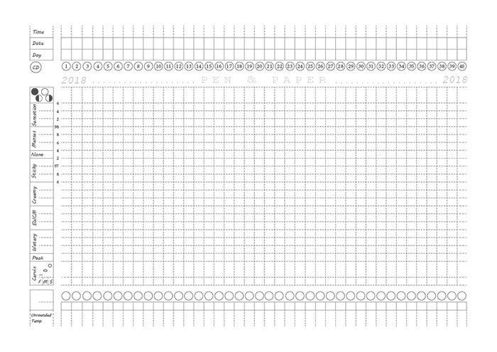 Fertility Awareness Printable Paper Chart: Pre Filled Free Printable Menstrual Record Chart