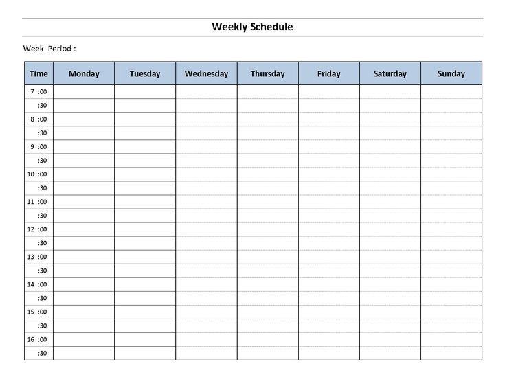 Fillable 1 Week Calendar | Weekly Schedule Template Excel 1 Week Calendar Template