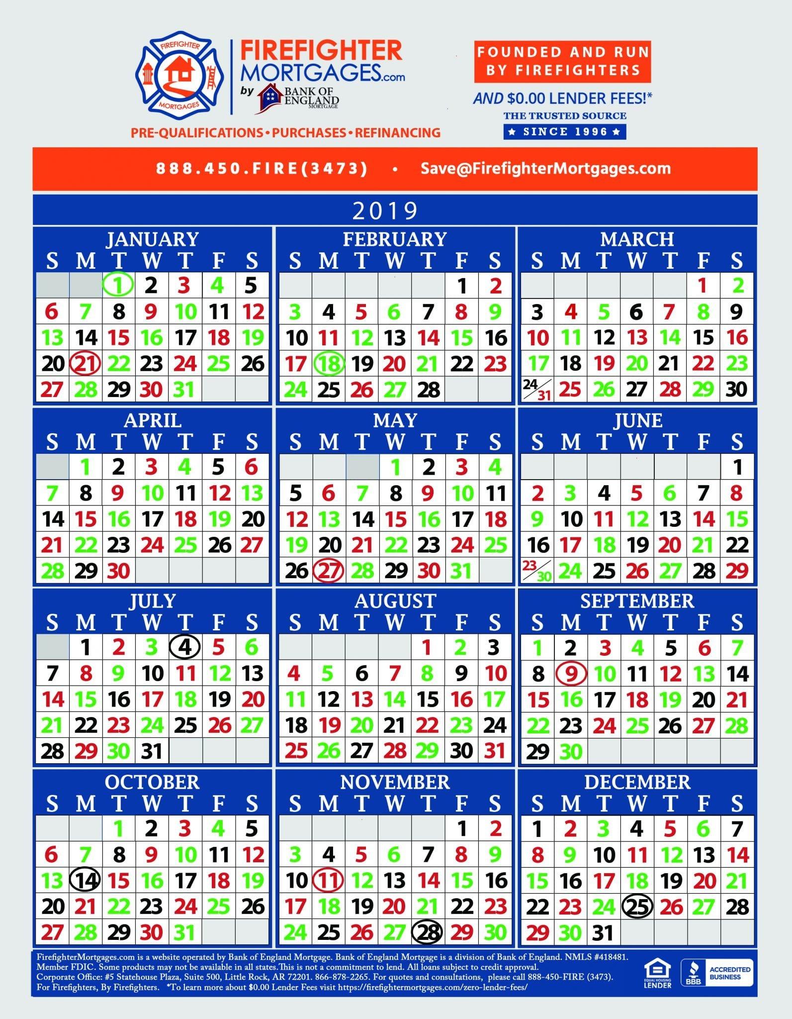 Firefighter Shift Calendar, Firefighter Calendar Free Printable Shift Calendars