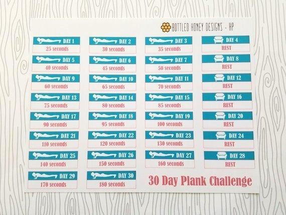Fitness // 30 Day Plank Challenge Set Of 30 Item 136 30 Day Plank Challenge Printable Pdf