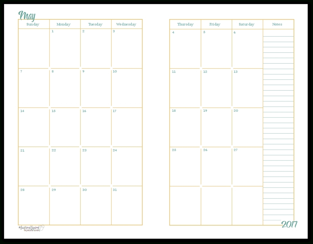 Free 2 Page Calander Templates   Calendar Template Printable 2 Page Monthly Calendar Free