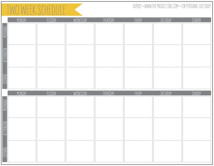 Free 2 Week Schedule Download   Jenallyson – The Project Printable Two Week Calendar Pages Free