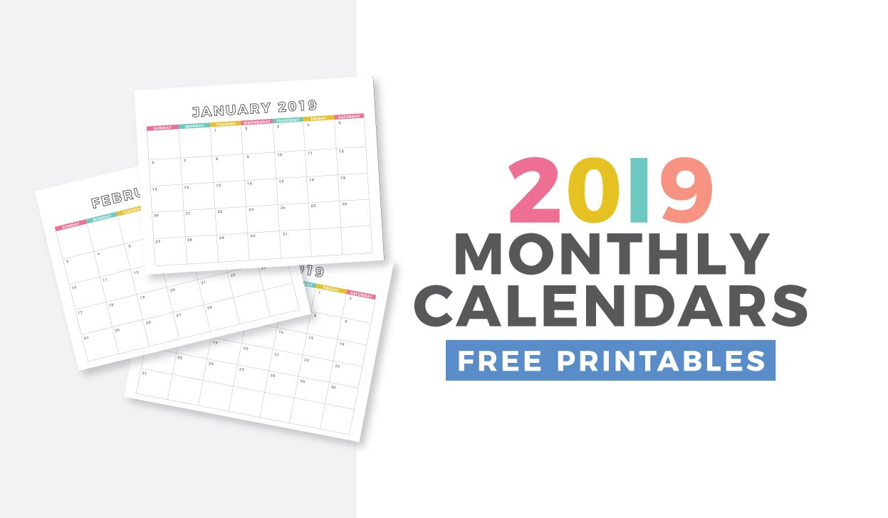 Free 2019 Monthly Calendar Printable – Design Eat Repeat Monthly Calendar On 8 X 11 Sheet