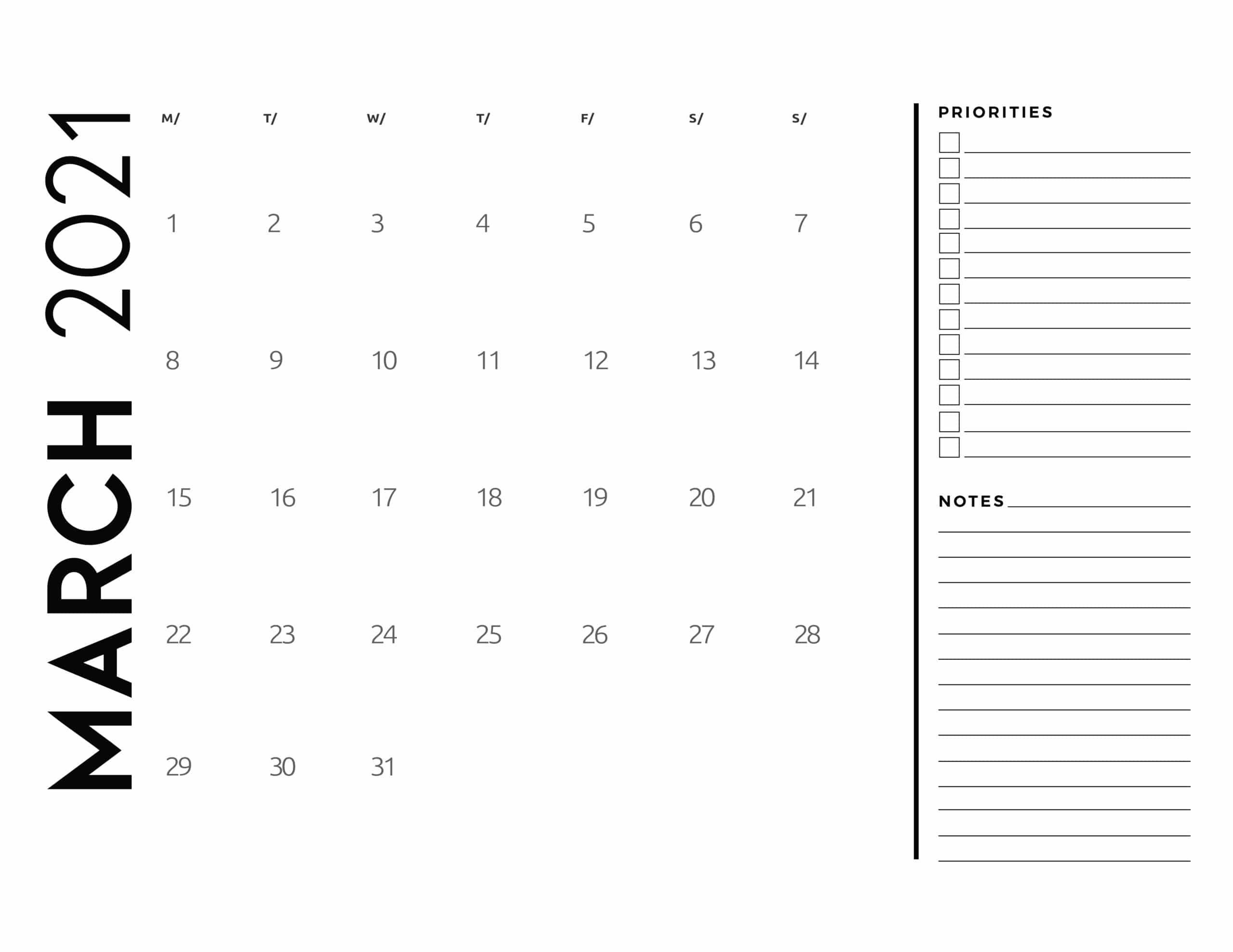 Free 2021 Calendar Priorities And Notes – World Of Printables Free Printable Calendar With Notes