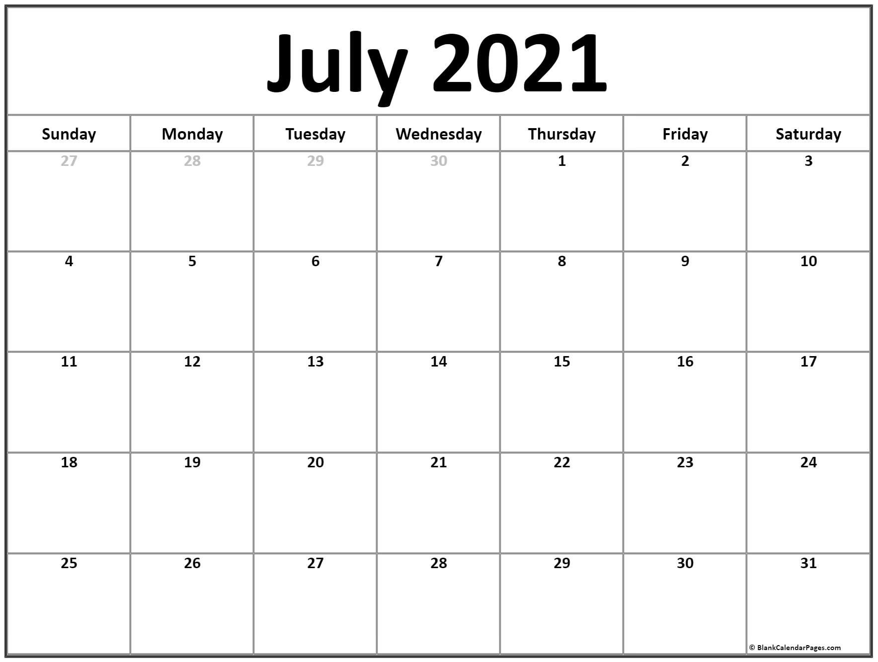 Free 2021 Printable Calendar July Canada Monthly | Month Free Bold Printable Calnder Jully