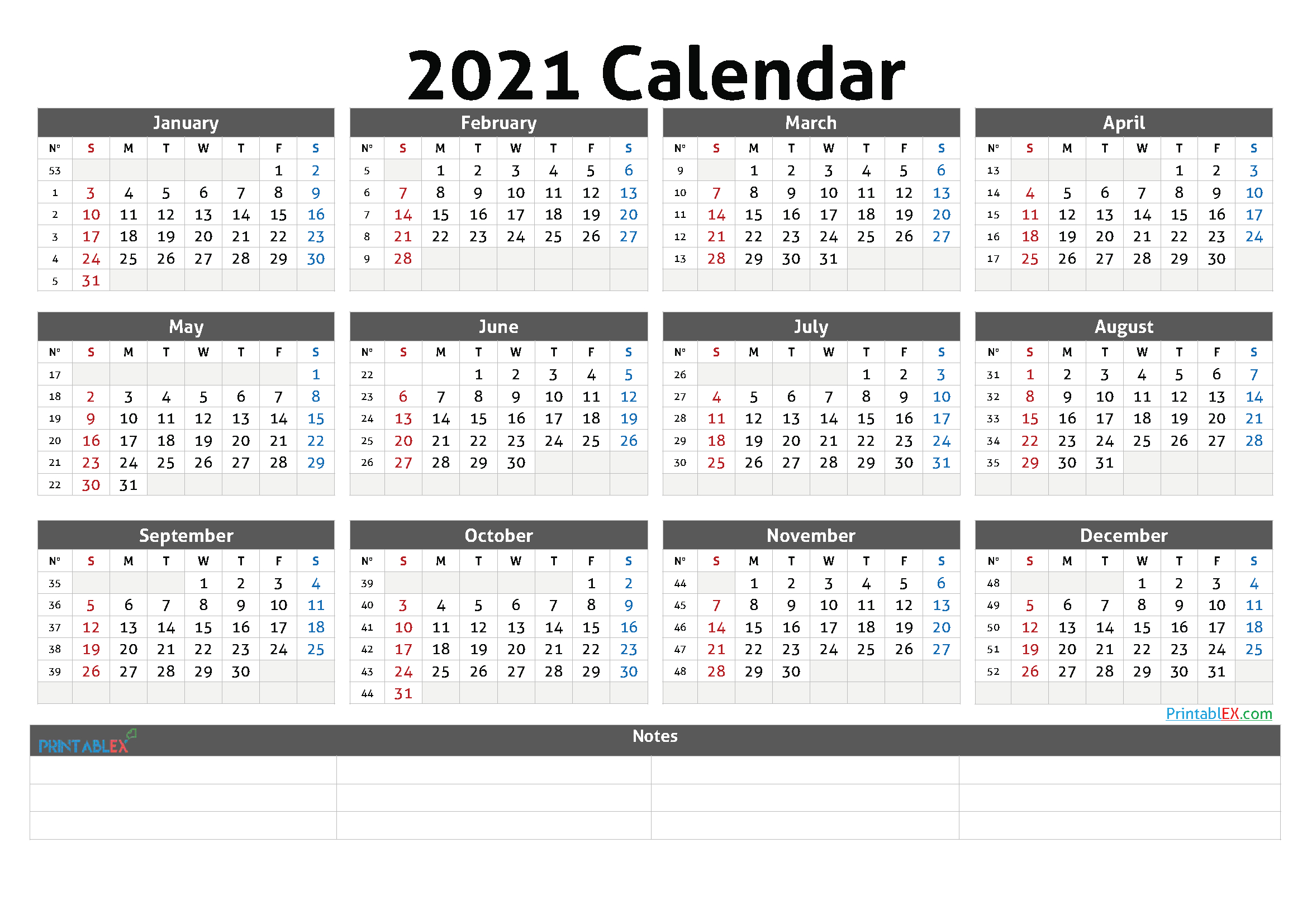 Free 2021 Yearly Calender Template – Free Printable Fillable Birthday Calendar Template Excel